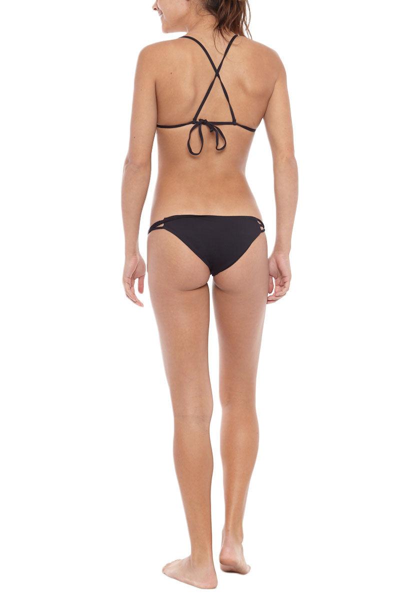FRANKIES BIKINIS Venice Criss-Cross Triangle Bikini Top - Black Bikini Top | Black| Frankies Bikinis Venice Criss-Cross Triangle Bikini Top - Black Sliding triangle cups Criss-cross straps tie at back Seamless 91% Micro Nylon, 9% Spandex Back View