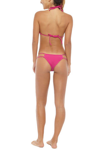 FRANKIES BIKINIS Oceanside Bralette Bikini Top - Raspberry Pink Bikini Top | Raspberry Pink | Frankies Bikinis Oceanside Bralette Bikini Top - Raspberry Pink Seamless top Bralette style Braided straps Ties at neck and back 79% Nylon, 21% Spandex Back View