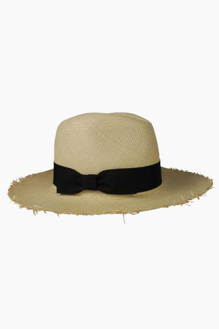 "HAT ATTACK Fringed Continental Straw Sun Hat With Bow - Natural Hat | Natural|Hat Attack Fringed Continental Hat - Natural Features:  Lightweight with fringed brim Brim height, about 4"" Raffia Spot clean Made in USA Front View"