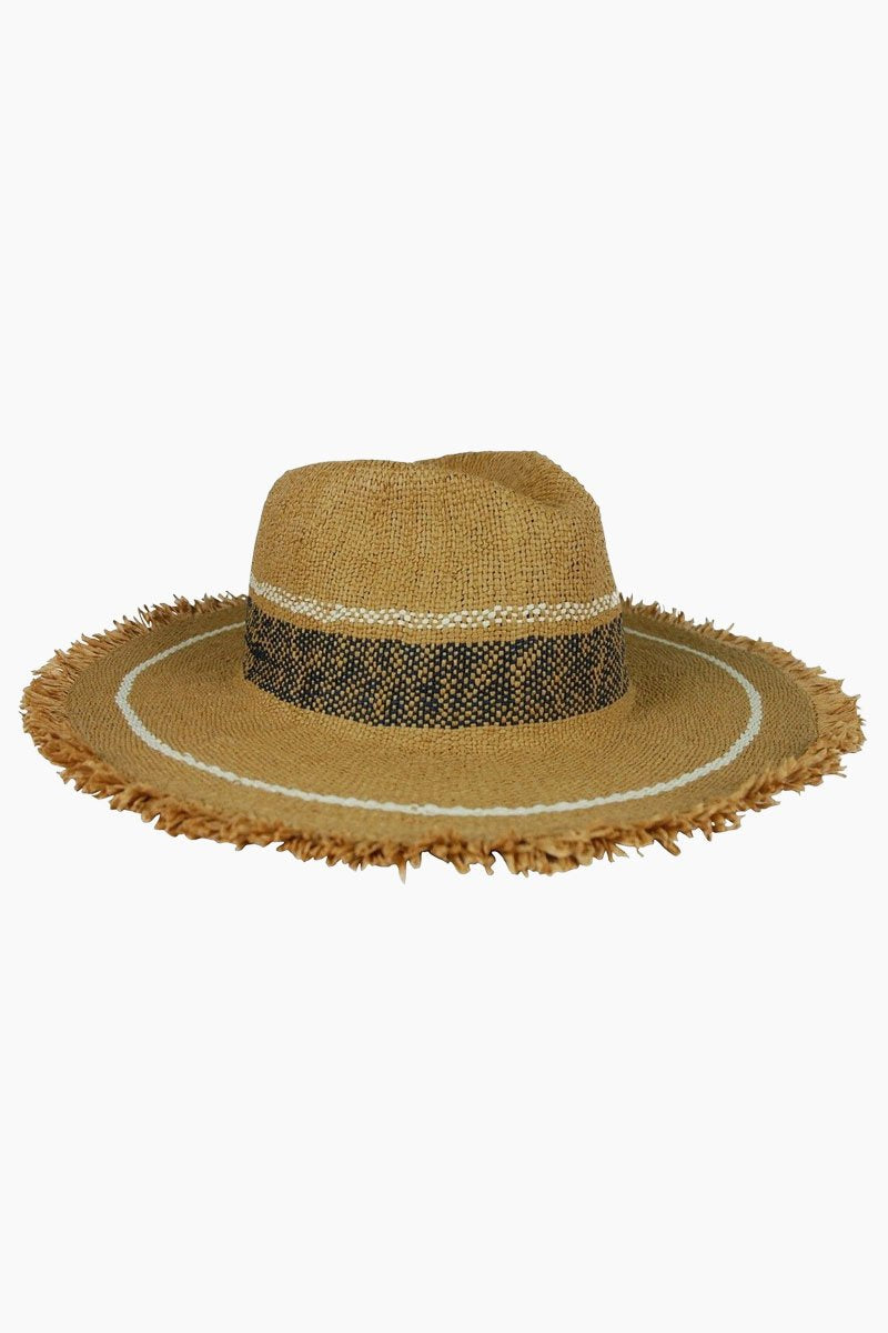 """HAT ATTACK Fringed Stripe Continental Straw Sun Hat - Toast/White/Navy Hat 