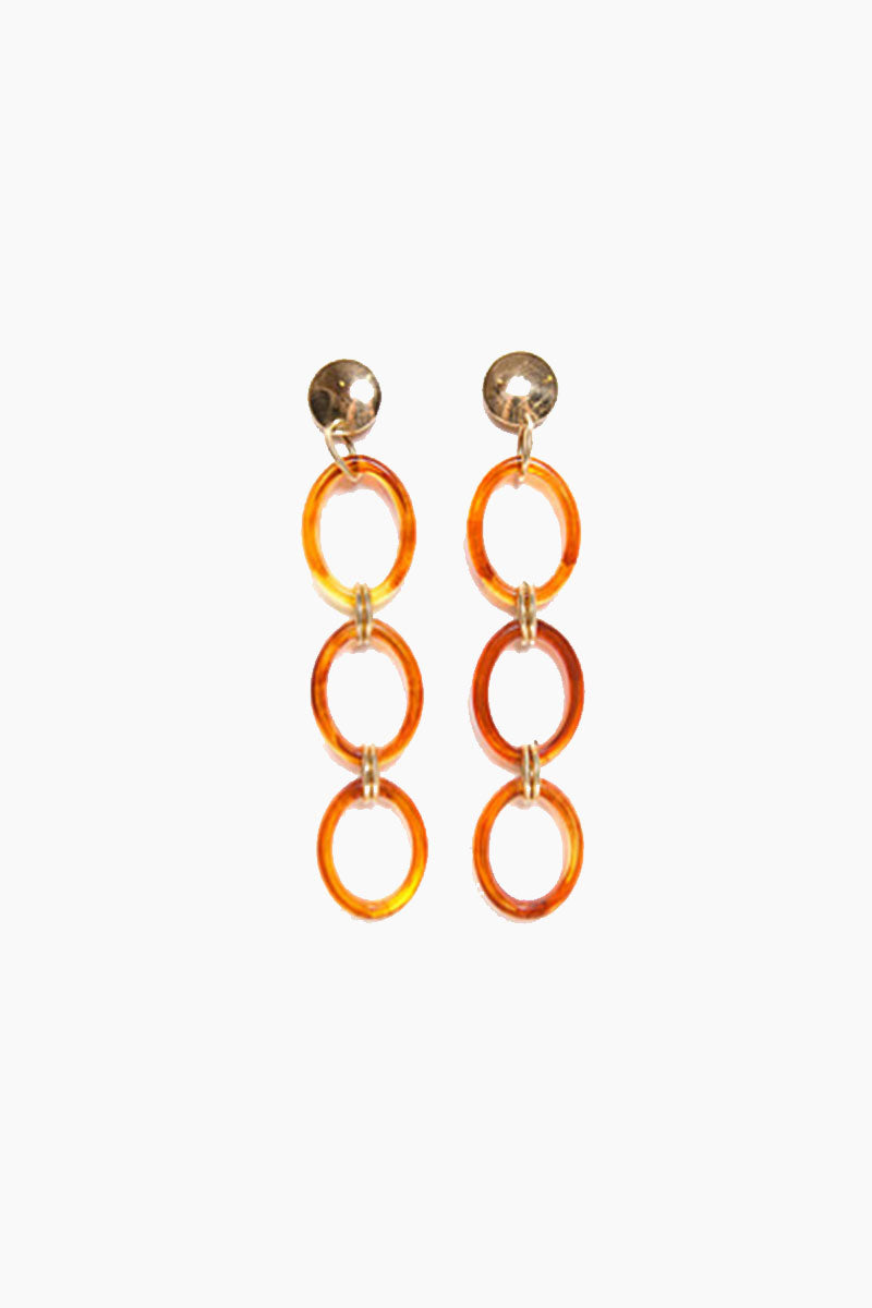 """PARADIGM DESIGN Frisco Hoop Chain Earrings - Gold Jewelry 
