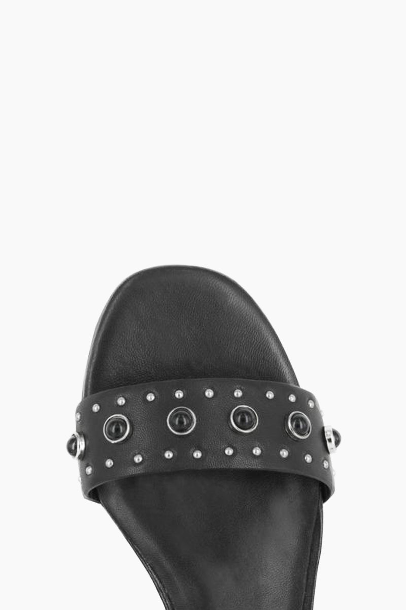 SENSO Gant Sandals - Ebony Sandals | Ebony| Senso Gant Sandals - Ebony. Features:  Nappa leather Strappy accent Stud detailing Buckle fastening at ankle  Outer- Nappa Leather 50%, Kid Leather 50% Lining- Kid Leather 100% Sole- Synthetic Resin 100% Front View