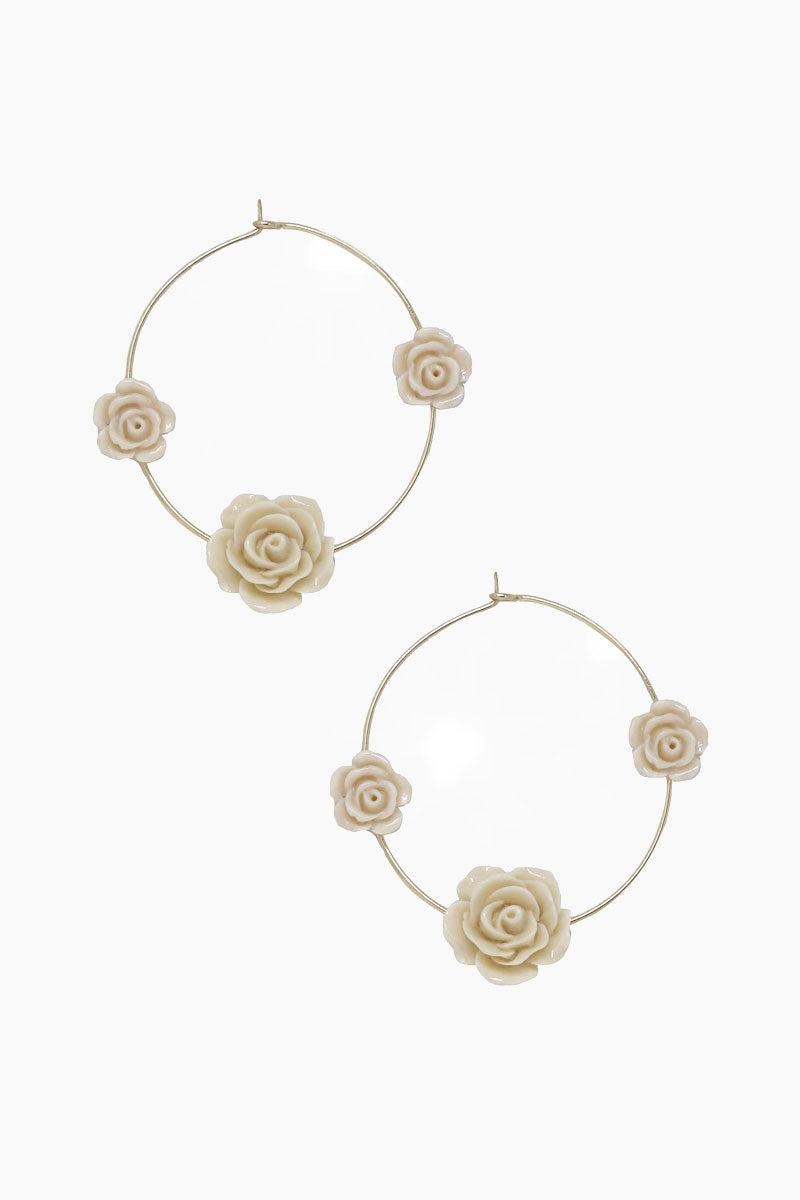 ETTIKA Garden Rose Hoops - Cream & Gold Jewelry   Cream & Gold  Ettika Garden Rose Hoops - Cream & Gold Full View Hoop Earrings 3 Cream Roses 18kt Gold Plated