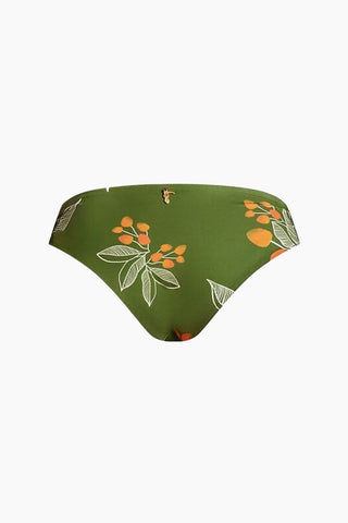 JUAN DE DIOS Gaviota Reversible Tie Side Bikini Bottom - Green/Mustard Bikini Bottom |  Green/Mustard| Juan De Dios Gaviota Reversible Tie Side Bikini Bottom - Green/Mustard. Features:  Seamless bikini bottom Mid rise silhouette Reversible between green flower print and mustard yellow Side tie detail 80% Polyamide, 20% Elastane, Xtra Life Certificated Lycra, UPF +50 Back View
