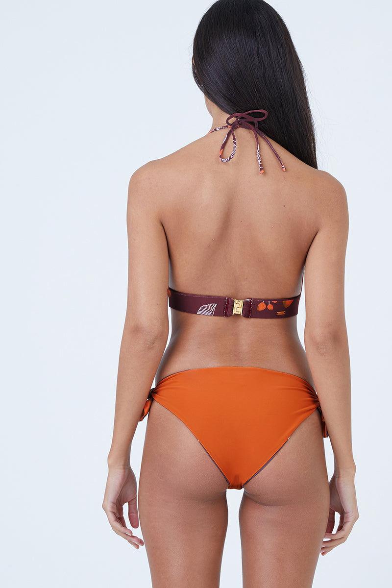 JUAN DE DIOS Gaviota Reversible Tie Side Bikini Bottom - Dark Orange/Maroon Bikini Bottom | Dark Orange/Maroon| Gaviota Reversible Tie Side Bikini Bottom - Dark Orange/Maroon