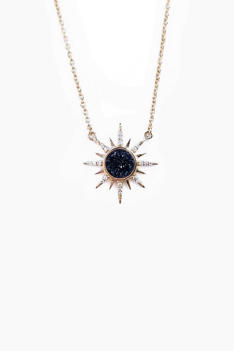 ELIZABETH STONE Gemstone Starbust Necklace - Black Druzy Jewelry | Black Druzy| ELIZABETH STONE Gemstone Starbust Necklace
