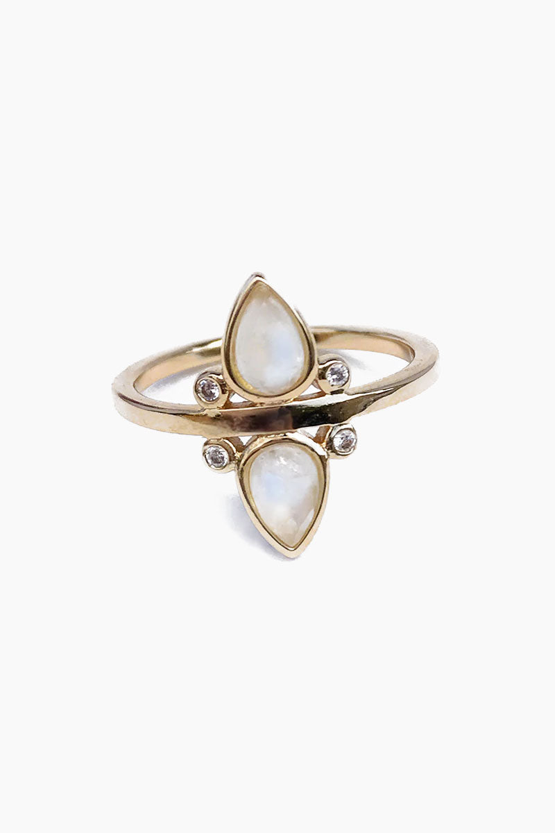 ELIZABETH STONE Gemstone Teardrop Ring - Moonstone Jewelry   Moonstone  ELIZABETH STONE Gemstone Tear Drop Ring