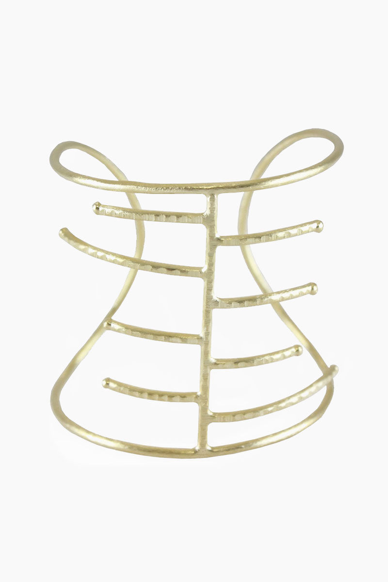 MARCIA MORAN Ginny Bracelet - Gold Jewelry | Gold| Marcia Moran Ginny Bracelet - Gold Open cuff with multiple metal bars 18k gold plated Front View
