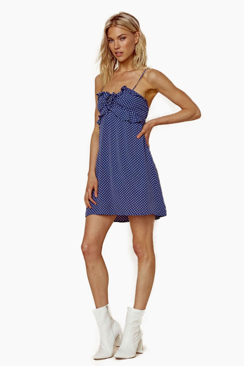 BLUE LIFE Girl About Town Ruffle Dress - Denim Blue Dot Dress | Denim Blue Dot| Blue Life Girl About Town Ruffle Dress - Denim Blue Dot. Features:  Dot print throughout Ruffled bust Smocked back Adjustable cami straps Made in USA Dry Clean Only 100% Rayon Front View
