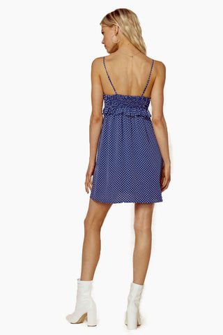 BLUE LIFE Girl About Town Ruffle Dress - Denim Blue Dot Dress | Denim Blue Dot| Blue Life Girl About Town Ruffle Dress - Denim Blue Dot. Features:  Dot print throughout Ruffled bust Smocked back Adjustable cami straps Made in USA Dry Clean Only 100% Rayon Back View