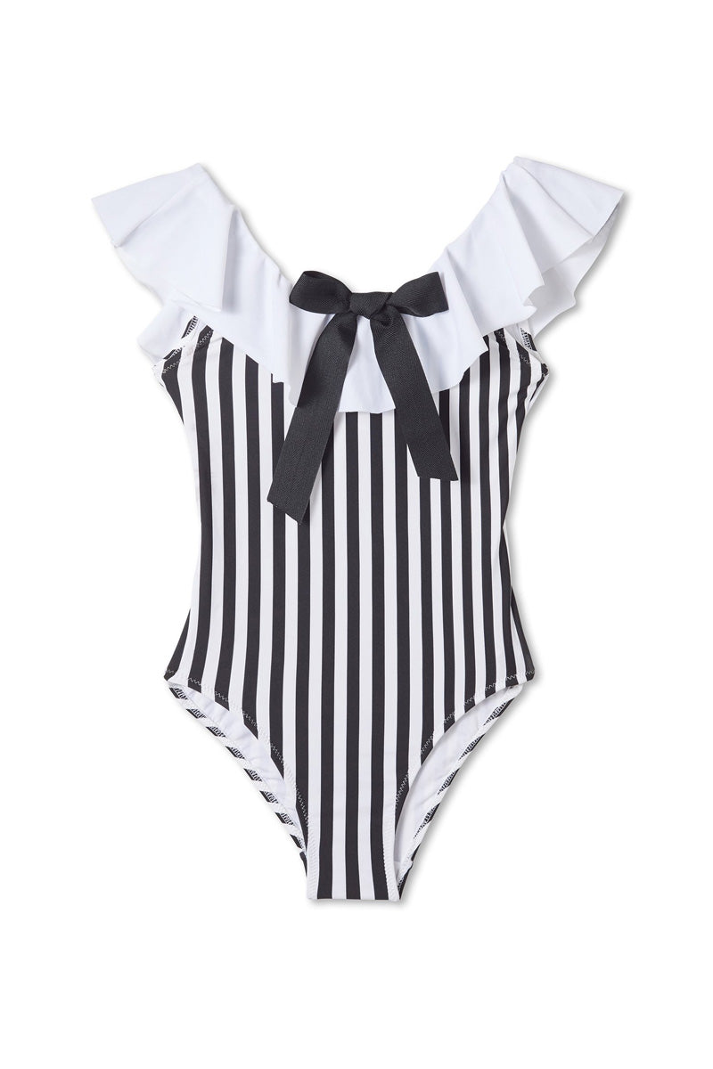 STELLA COVE Black & White Striped One Piece Swimsuit (Kids) Kids One Piece | Black/White Striped|Striped One Piece Swimsuit (Kids)