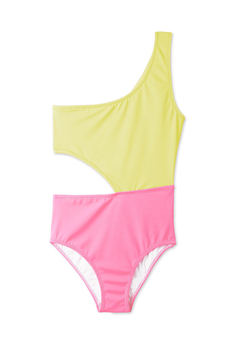 STELLA COVE Yellow & Pink Side Cut Out One Piece Swimsuit (Kids) Kids One Piece | Yellow/Pink|Stella Cove Yellow & Pink Side Cut Out One Piece Swimsuit (Kids)
