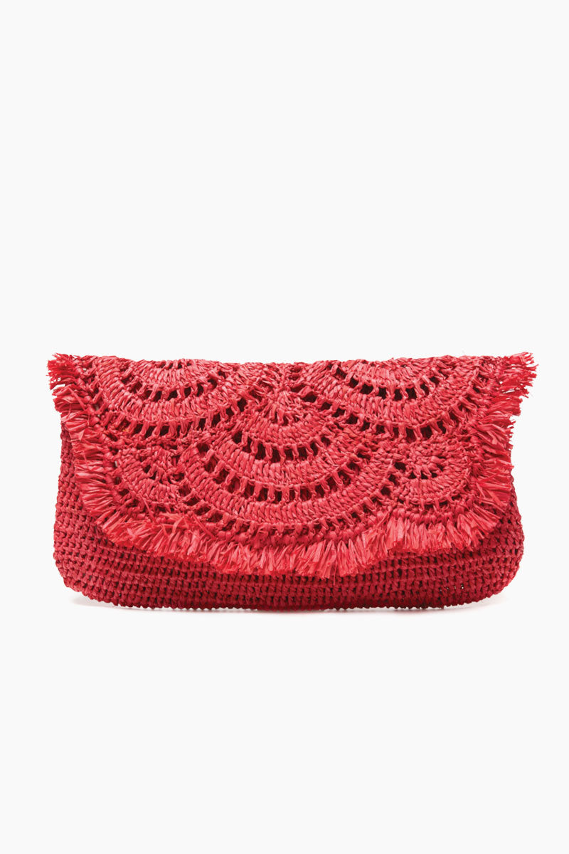 MAR Y SOL Gisele Crocheted Raffia Clutch With Cotton Lining & Snap Closure - Coral Bag | Coral| MAR Y SOL Gisele Crocheted Raffia Clutch With Cotton Lining & Snap Closure Front View