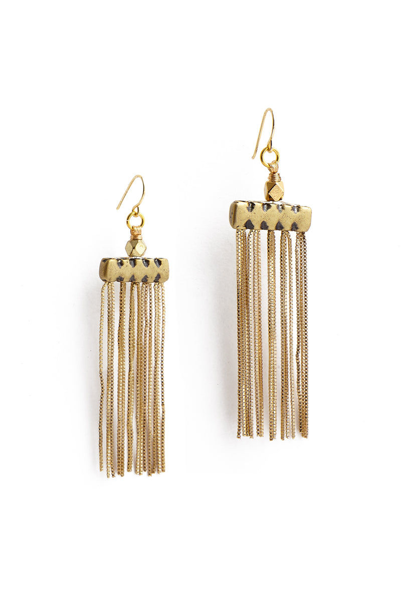 VANESSA MOONEY The Iris Earrings Jewelry | Gold| Vanessa Mooney The Iris Earrings Gold Plated Fringe Earrings With Hammered Metal Detailing Bohemian Style Fish Hook Backings for Pierced Ears