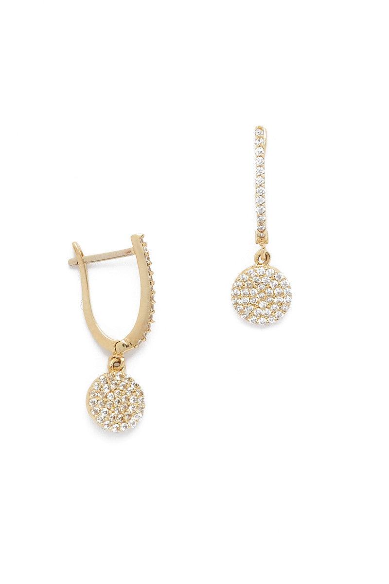 TALIA NAOMI Golden Eclipse Pave Earrings Jewelry | Yellow Gold| Talia Naomi Eclipse Pave Earrings