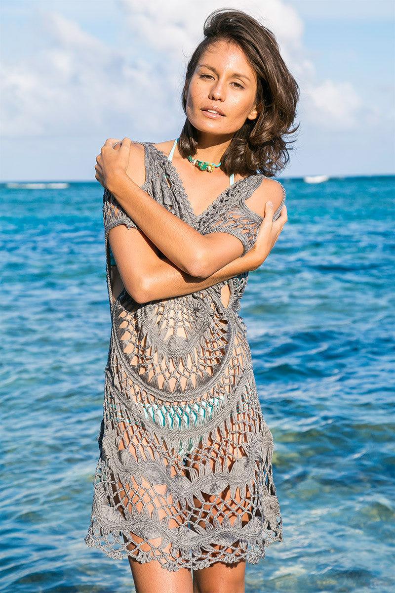 BIKINI.COM Crochet Cover Up Dress - Gray Cover Up | Gray|