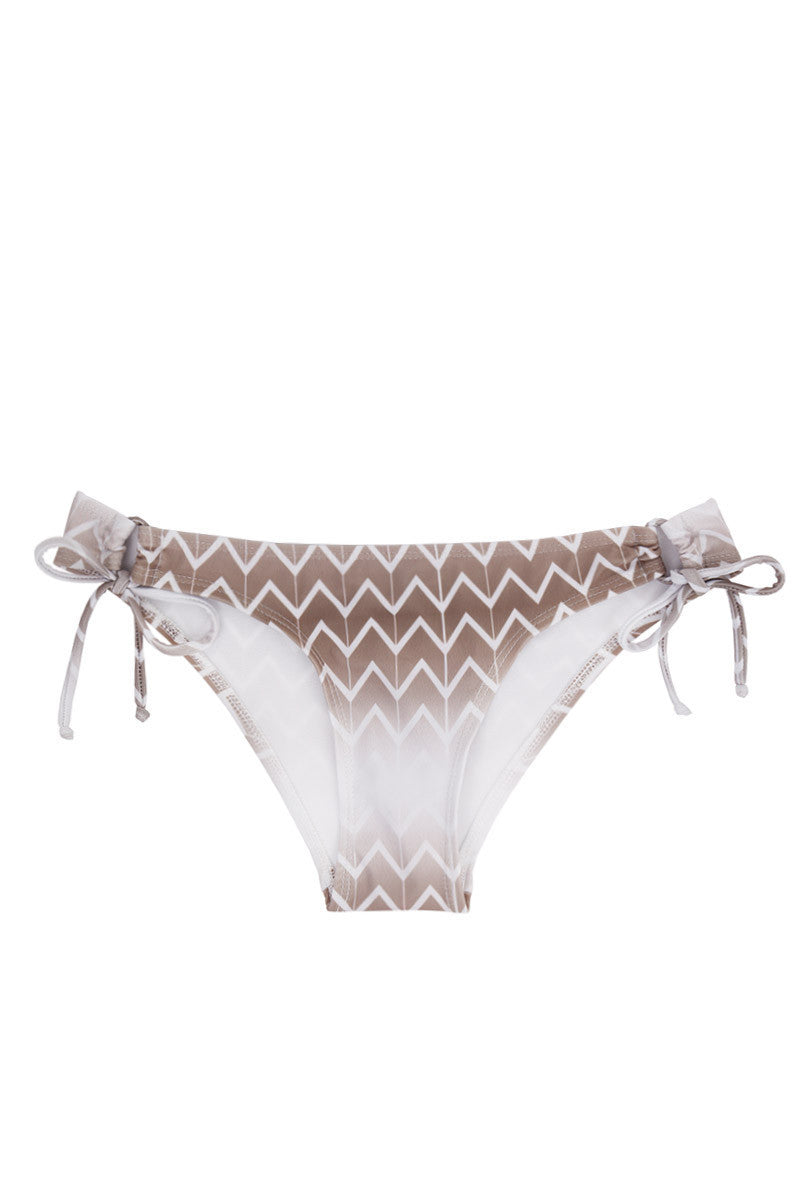 KOVEY Gulf Tie Side Moderate Bikini Bottom - Driftwood Brown Chevron Print Bikini Bottom | Driftwood Brown Chevron Print| Kovey Gulf Tie Side Moderate Bikini Bottom - Driftwood Brown Chevron Print Low-rise wide side strap side tie cheeky bikini bottom in deep taupe chevron print. Looped tie sides create an adjustable fit and expose skin at the hips through small cut-outs. The side straps  Front View