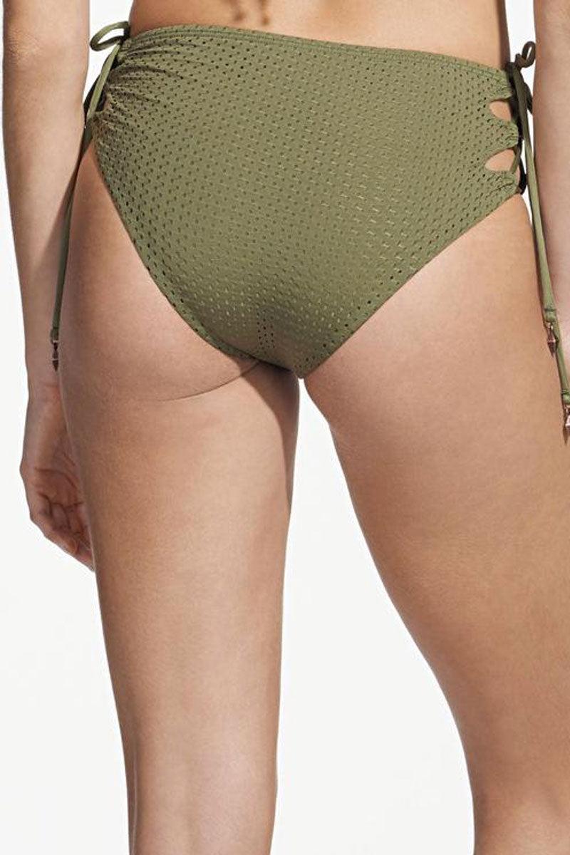 ROSA CHA Hot Laces High Waisted Bikini Bottom - Olive Green Bikini Bottom | Olive Green| Rosa Cha Hot Laces High Waisted Bikini Bottom - Olive Green High Waisted Bikini Bottom Lace Up Sides  Moderate Coverage  Back View