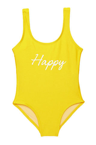 "PRIVATE PARTY KIDS Happy One Piece Kids One Piece | Yellow| Private Party Kids Happy One Piece ""Happy"" Graphic Text on Front Wide, Non Adjustable Shoulder Straps Hardware-Free Easy Pull-On Style Built-In Lining Full Rear Coverage"