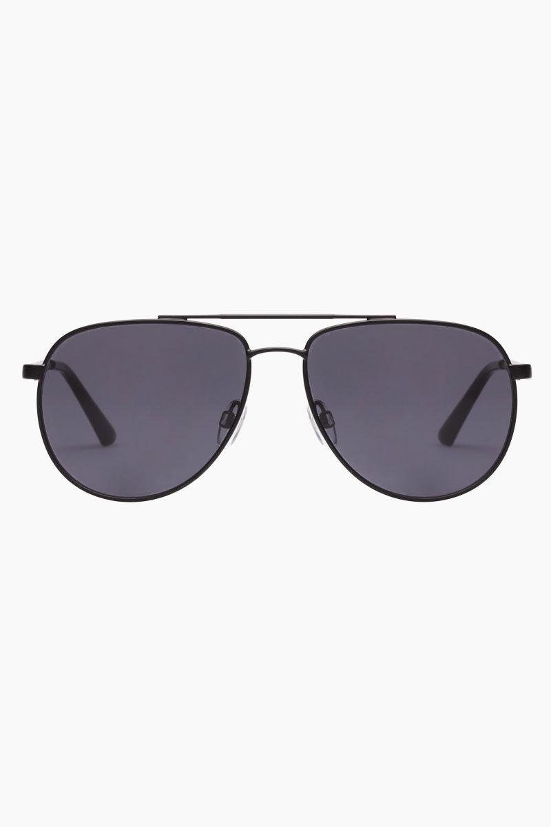 LE SPECS Hard Knock Sunglasses - Matte Black Sunglasses | Matte Black|Hard Knock - Le Specs Aviator Sunglasses Semi Flat Lenses Frame: Matte Black Lens: Smoke Mono  Medium UV protection Gender: Men Lens Width - Nose Bridge - Temple Length      57                   15                    145