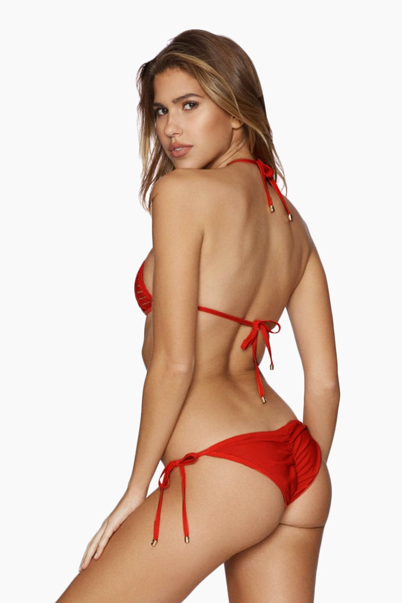 BEACH BUNNY Hard Summer Tri Bikini Top - Red Bikini Top | Red| Beach Bunny Hard Summer Tri Top - Red Triangle Top  Halter Neck Tie Strappy binding is fully lined with nude fabric  Ties at Center Back  side view
