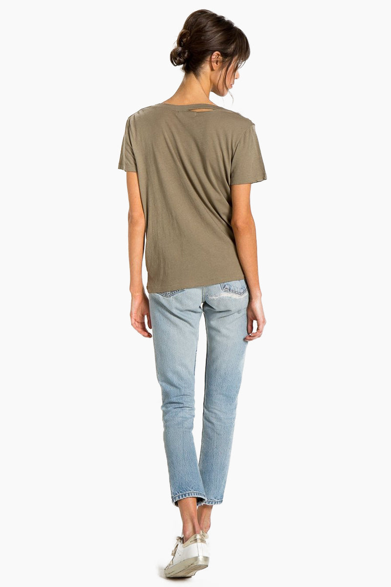 N:PHILANTHROPY Harlow Bff Tee - Army Top | Army| n:Philanthropy Harlow Bff Tee - Army  Short sleeve T-shirt Scoop neckline with cut out detail Back View