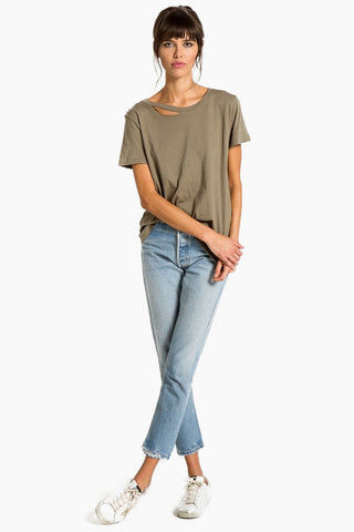 N:PHILANTHROPY Harlow Bff Tee - Army Top | Army| n:Philanthropy Harlow Bff Tee - Army  Short sleeve T-shirt Scoop neckline with cut out detail Front View