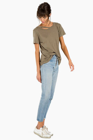 N:PHILANTHROPY Harlow Bff Tee - Army Top | Army| n:Philanthropy Harlow Bff Tee - Army  Short sleeve T-shirt Scoop neckline with cut out detail Side View