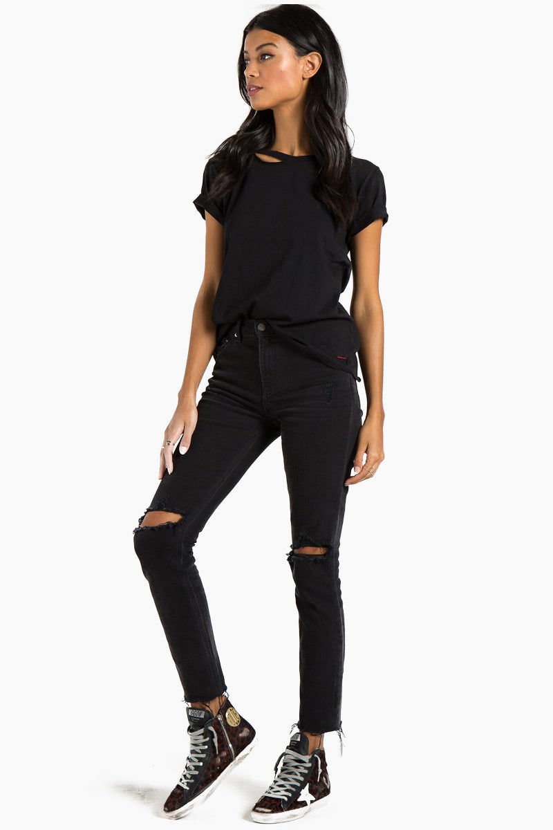 N:PHILANTHROPY Harlow Bff Tee - Black Top   Black  n:Philanthropy Harlow Bff Tee - Black  Short sleeve T-shirt Scoop neckline with cut out detail Front ViewBlack  n:Philanthropy Harlow Bff Tee - Black  Short sleeve T-shirt Scoop neckline with cut out detail Front View