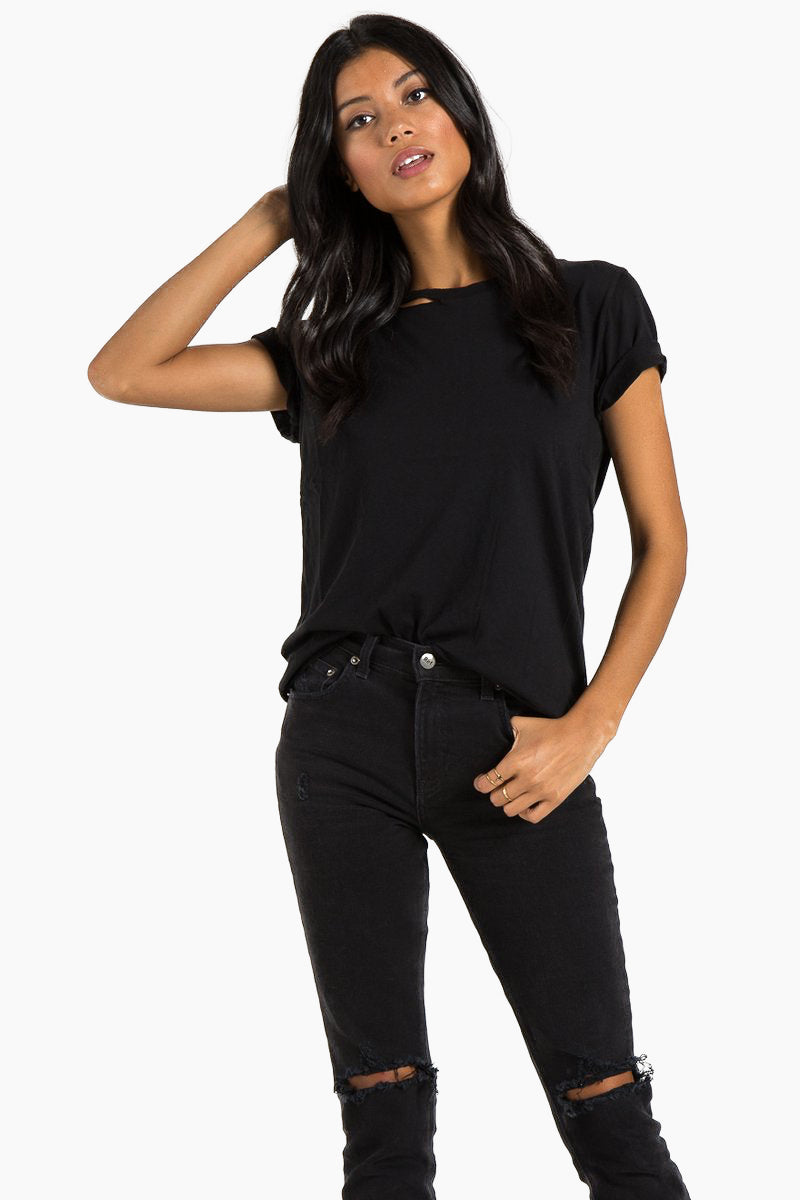 N:PHILANTHROPY Harlow Bff Tee - Black Top   Black  n:Philanthropy Harlow Bff Tee - Black  Short sleeve T-shirt Scoop neckline with cut out detail Front View