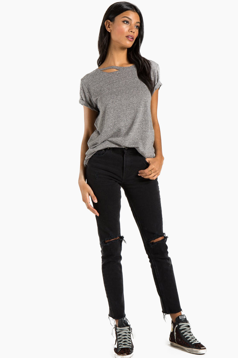 N:PHILANTHROPY Harlow Distressed Bff Tee - Heather Grey Top | Heather Grey| n:Philanthropy Harlow Distressed Bff Tee - Heather Grey   Short sleeve T-shirt Scoop neckline with cut out detail Front View