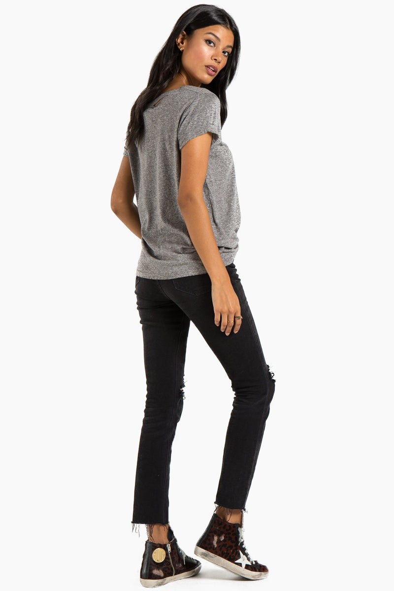 N:PHILANTHROPY Harlow Distressed Bff Tee - Heather Grey Top | Heather Grey| n:Philanthropy Harlow Distressed Bff Tee - Heather Grey   Short sleeve T-shirt Scoop neckline with cut out detail Back View