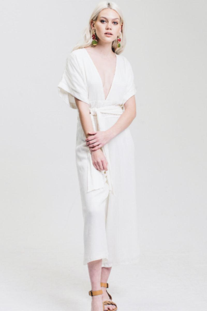 716d89c9b469f WINSTON WHITE Havana Plunging Jumpsuit - Cream