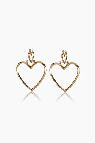 LUV AJ Heartbreaker Dangle Hoop Earrings (Set of 4) - Gold Jewelry | Gold| Luv Aj Heartbreaker Hoop Set - Gold Front View Large heart-shaped hoops Posts are hypoallergenic, won't irritate your ears Made from brass Plated antique gold