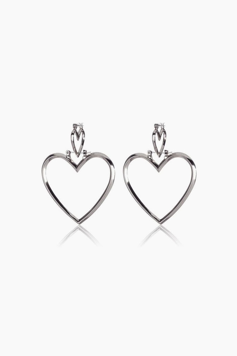 LUV AJ Heartbreaker Dangle Hoop Earrings (Set of 4) - Silver Jewelry | Silver| Luv Aj Heartbreaker Hoop Set - Silver Front View Large heart-shaped hoops Posts are hypoallergenic, won't irritate your ears Made from brass Plated silver ox