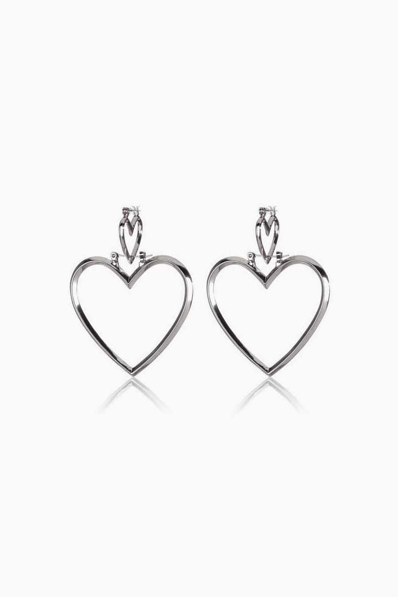 Luv Aj Heartbreaker Dangle Hoop Earrings Set Of 4 Silver Jewelry