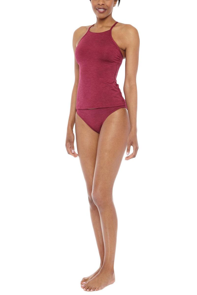 HELEN JON Racerback Tank Bikini Top - Currant Bikini Top | Currant| Helen Jon Racerback Tank Top
