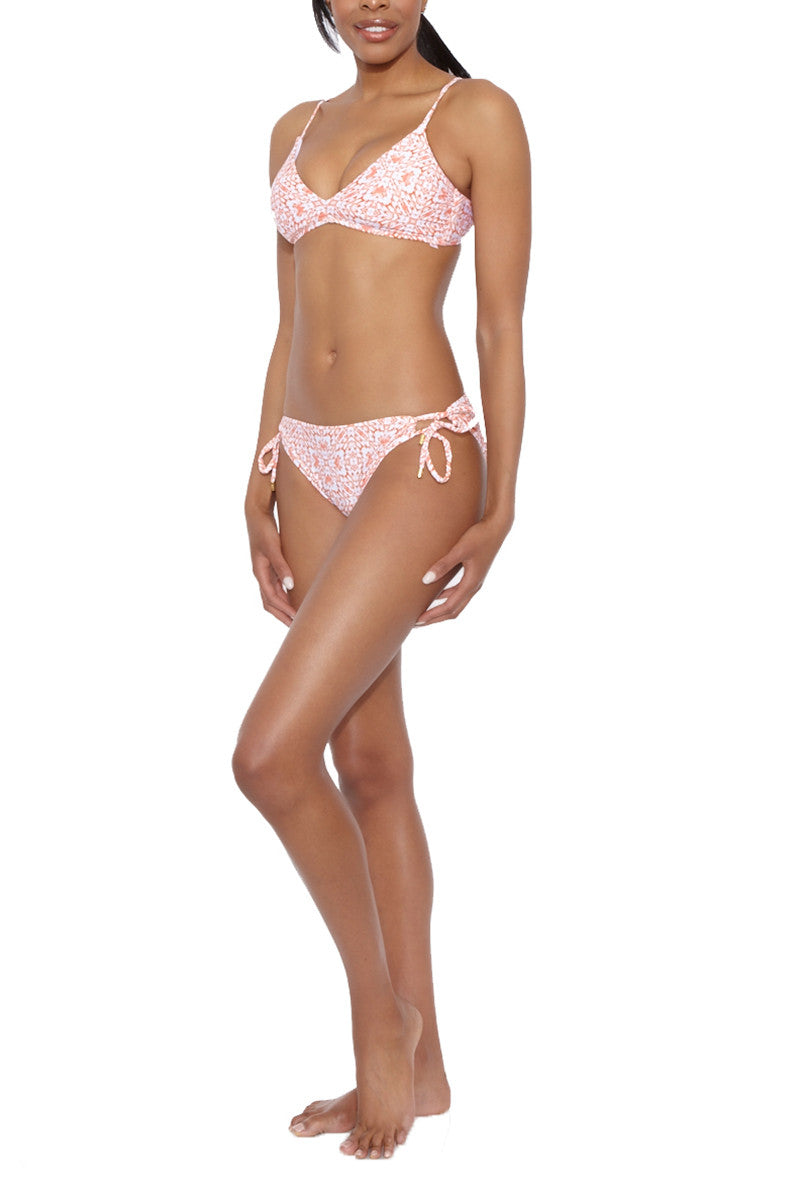 HELEN JON Tunnel Tie Side Hipster Bikini Bottom - Exuma Pink Mosaic Print Bikini Bottom   Exuma Pink Mosaic Print   Helen Jon Tunnel Tie Side Hipster Bikini Bottom - Exuma Pink Mosaic Print  The side ties are adjustable, allowing you to fine-tune them for the perfect fit. Moderate to full coverage bottom shapes and supports your backside and provides ample coverage. Side View