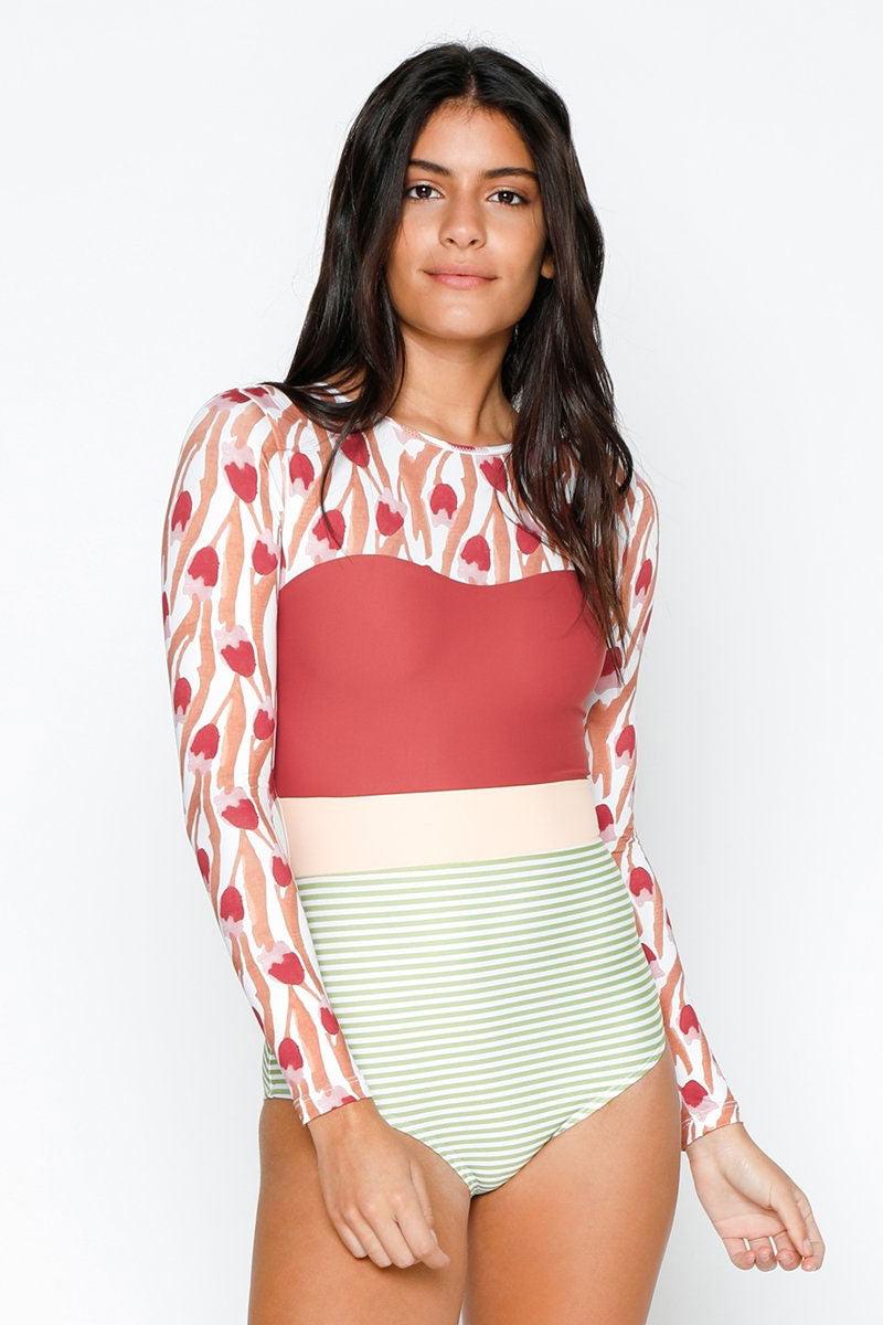 e54116d31e15c ... SEEA Hermosa Long Sleeve Color Blocked One Piece Swimsuit - Tulip One  Piece