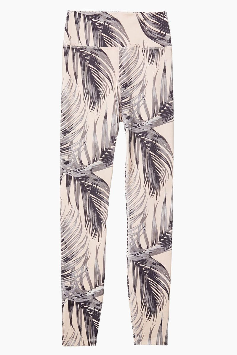 SPIRITUAL GANGSTER High Waisted 7/8 Leggings - Blush Pink Palm Print Leggings | Blush Pink Palm Print| Spiritual Gangster High Waisted 7/8 Leggings - Blush Pink Palm Print High waisted leggings Made from a super soft, moisture-wicking performance blend. Nylon/Spandex Front View