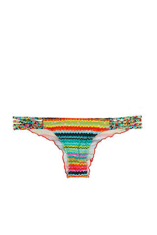 LULI FAMA Braided Cheeky Bikini Bottom - Multicolor Stripes Bikini Bottom | Multicolor Stripes|