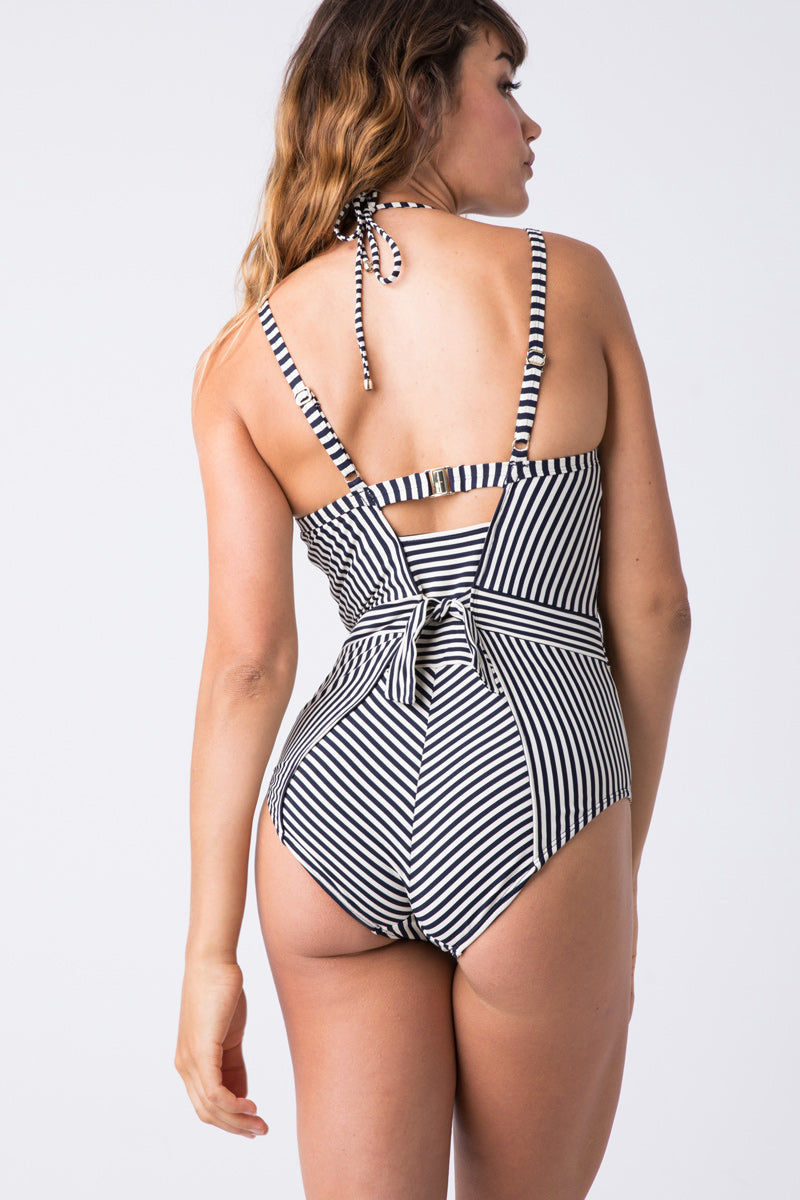 MARLIES DEKKERS Holi Vintage Plunge Balcony One Piece Swimsuit (Curves) - Blue Ecru One Piece | Blue Ecru| Holi Vintage Plunge Balcony One Piece Front. Underwired supportive one piece. Navy blue and white stripes. Adjustable halter neck string tie. Tummy control.
