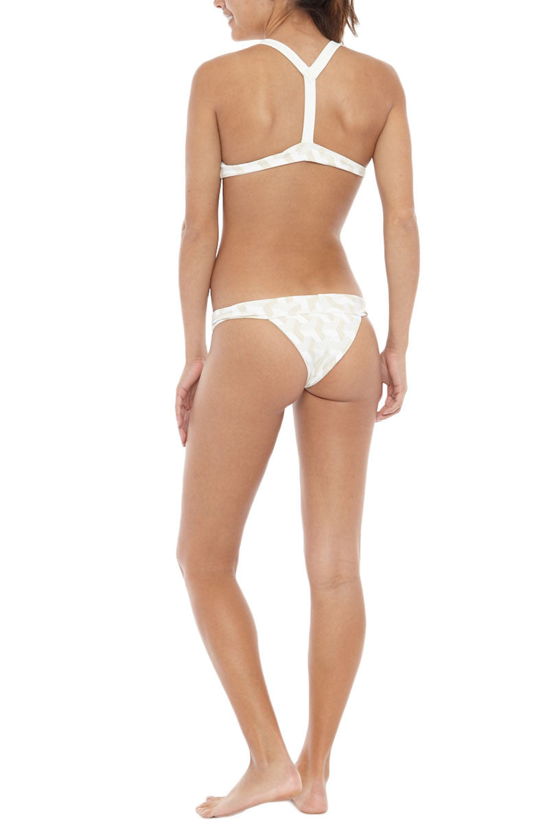 HOUSE OF AU+ORA Fame Thick Waistband Moderate Bikini Bottom - White & Gold Bikini Bottom   White & Gold  House of Au + Ora White Fame Bikini Bottom