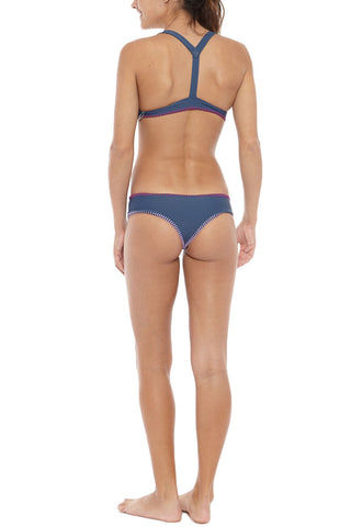 HOUSE OF AU+ORA Foxy Lady Crochet Trim T-Back Bikini Top - Navy Bikini Top | Navy| House of Au + Ora Foxy Lady Bikini Top