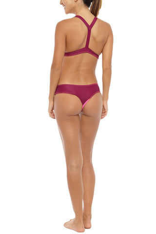 HOUSE OF AU+ORA Foxy Lady Crochet Trim T-Back Bikini Top - Hot Pink Bikini Top | Syrah| House of Au + Ora Foxy Lady Bikini Top