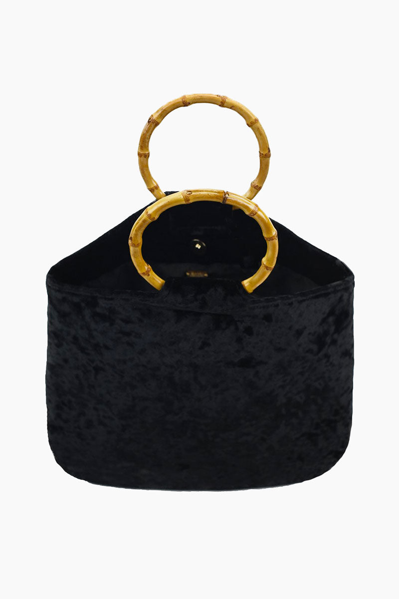 KAYU Hudson Velvet Tote - Black Bag | Black| Kayu Hudson Velvet Tote - Black. Features:  Velvet exterior  Wooden hoop top Magnetic closure Interior pockets Front View