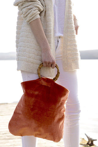 KAYU Hudson Velvet Tote - Rust Bag | Rust| Kayu Hudson Velvet Tote - Rust. Features:  Velvet exterior Wooden hoop top handle Lined Imported from Phillippines Front View