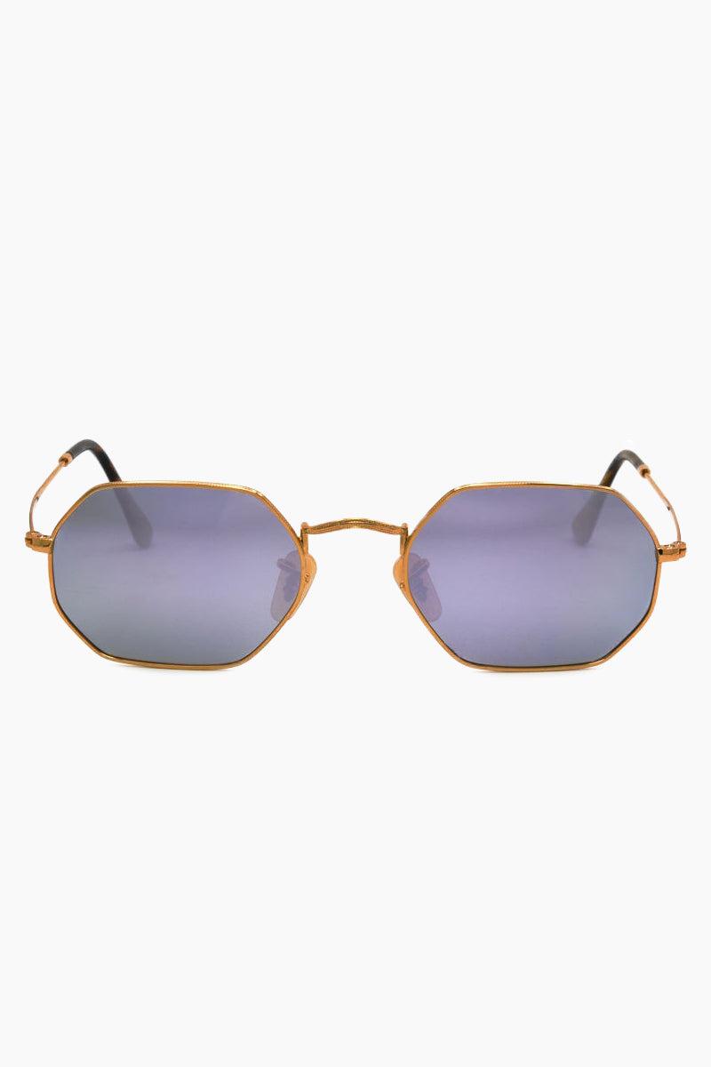 I-SEA Hudson Polarized Sunglasses - Gold/Purple Sunglasses | Gold/Purple| I-Sea Hudson Polarized Sunglasses - Gold/Purple Oval Sunglasses Frame Color: Gold Lens Color: Mirrored Purple Polarized 100% UV / UVB Protection Front View