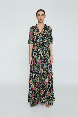 TRIYA Chemise Short Sleeve Button Up Maxi Dress - Life Flower Print Dress | Life Flower Print| Triya Chemise Short Sleeve Button Up Maxi Dress - Life Flower PrintCollared maxi dress Short sleeves Button up front closure Front View