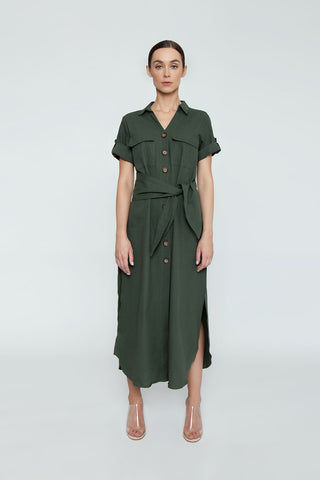TRIYA Button Up Collared Maxi Dress - Military Green Dress | Military Green| Triya Button Up Collared Maxi Dress - Military Green Collared maxi dress Short sleeves Button up front closure Front View